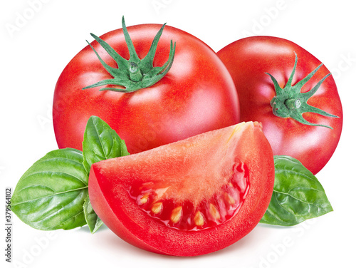 Canvas-taulu Tomatoes with basil leaves and tomato slices isolated on a white background