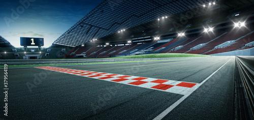 Obraz na plátně Evening scene asphalt international race track with starting or end line, digital imaging recomposition background