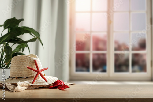 A table with a window is a memory of summer on an autumn day Canvas