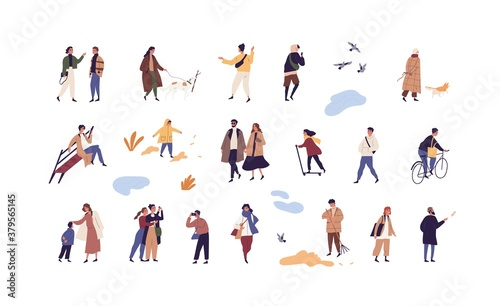 Set of people walk and performing outdoor activity at autumn season vector flat illustration. Collection of man, woman and children talk, play, ride and stroll enjoy fall weather isolated on white - 379565145