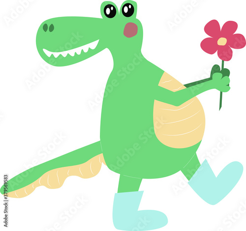 Papel de parede cheerful smiling green crocodile dragon dinosaur with a flower in blue boots