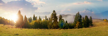 Foggy Autumn Landscape Panoram...