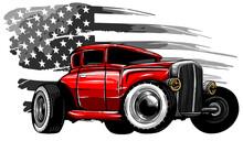 Vector Cartoon Retro Hot Rod Vector Illustration Design
