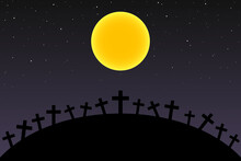 Full Moon And Stars Over Cross...
