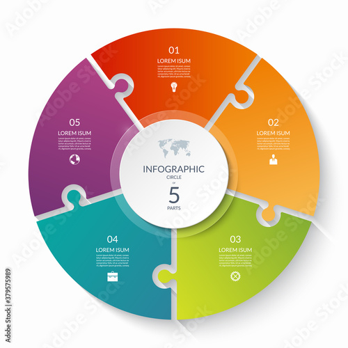 Obraz Puzzle infographic circle with 5 steps, options, pieces. Five-part cycle chart. Can be used for diagram, graph, report, presentation, web design. - fototapety do salonu