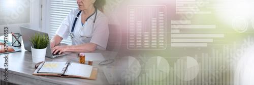 Fototapeta Female doctor using laptop; panoramic banner