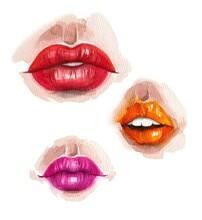 Watercolor Sketch Of Lips