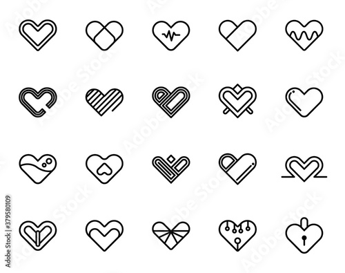simple set of heart icon vector, lovely romance outline symbols Canvas