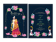 Floral Wedding Invitation Card Design Set with Indian Couple Image and Venue Details.
