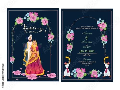 Fototapeta Floral Wedding Invitation Card Design Set with Indian Couple Image and Venue Details. obraz