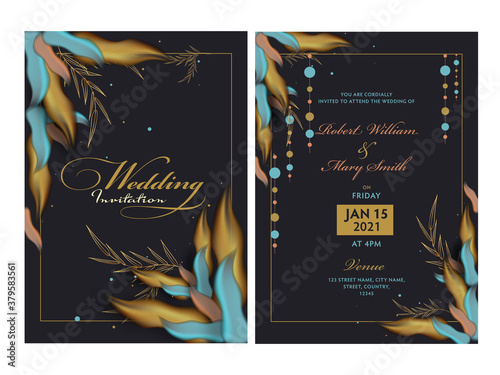 Fototapeta Wedding Invitation Card with Event Details in Front and Back View. obraz