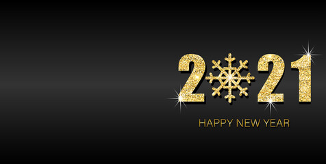 Happy new year 2021 banner. Gold festive numbers design with gold snowflake. Design template Celebration typography poster, banner or greeting card for Merry Christmas and happy new year.