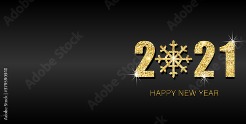 Fototapeta Happy new year 2021 banner. Gold festive numbers design with gold snowflake. Design template Celebration typography poster, banner or greeting card for Merry Christmas and happy new year. obraz