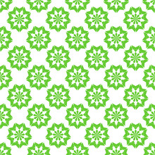 Geometric Pattern In Repeat.Seamless Background, Green Kaleidoscope Pattern On White Background.Design For Fabric, Paper, Wallpaper, Patchwork, Wrapping, Website, Printing, 10EPS.