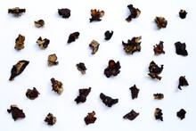 Dried Black Fungus On White Ba...