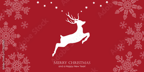 Fotomural red christmas greeting card with jumping deer and snowflake border vector illust
