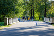 Russia, St. Petersburg-September 21, 2020:Photo of family walking in the park
