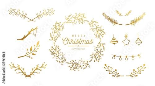 Fotografie, Obraz Merry Christmas vector hand drawn decoration set