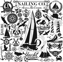 Maritime Nautical Clipart Collection Sailing And Marine Design Elements Vector Silhouette