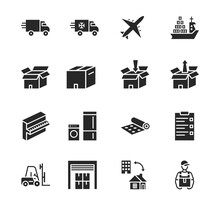Transport Company Flat Glyph Icon Set. Vector Illustration Moving Company. Transportation Of Cargo. Worldwide Delivery.