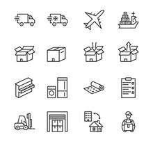 Transport Company Flat Line Icon Set. Vector Illustration Moving Company. Transportation Of Cargo. Worldwide Delivery. Editable Strokes