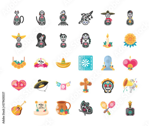 Fototapeta Mexican day of dead detailed style 30 icon set vector design obraz