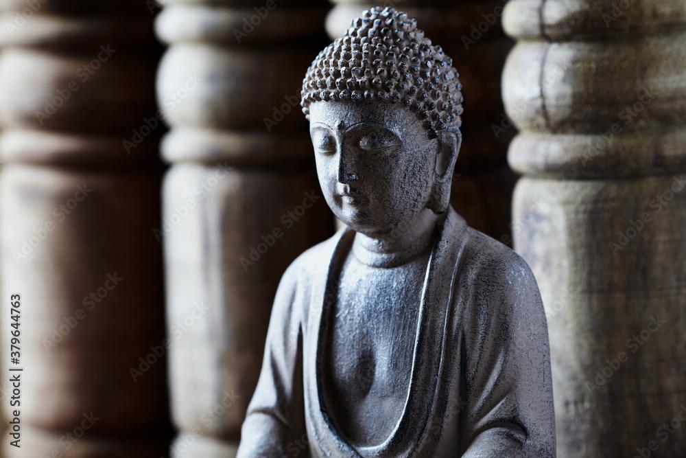 Fototapeta Meditating Buddha Statue on bright background. Close up.