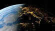 realistic night Italy from space, Venice from space, night Sicily from space, central Europe at night, night Rome from satellite 3D render