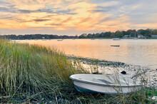 Autumn Comes To A North Shore Long Island Harbor.   Setauket Harbor, NY.