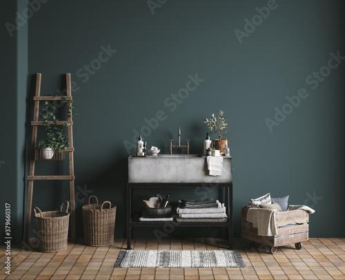 Fototapeta Dark green rustic bathroom, wall mock up, 3D render obraz