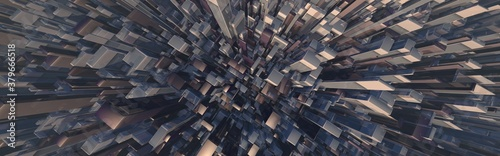 Fototapeta Abstract wide angle city landscape