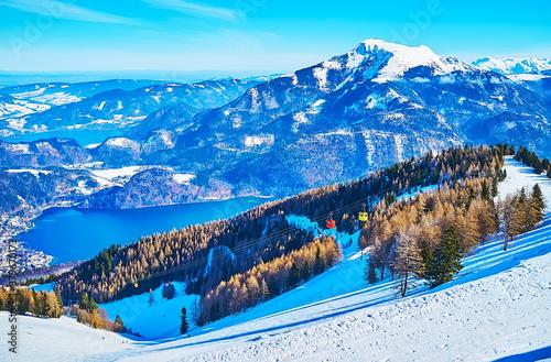 Winter nature of Zwolferhorn and its cableway, St Gilgen, Salzkammergut, Austria #379670173