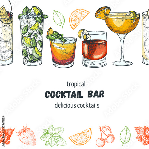 Alcoholic cocktails hand drawn vector illustration. Cocktails set. Menu design elements. Tom collins, mojito, mai tai, sazerac, sidecar.