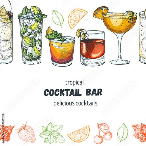Fototapeta Alcoholic cocktails hand drawn vector illustration. Cocktails set. Menu design elements. Tom collins, mojito, mai tai, sazerac, sidecar. obraz