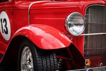 Closeup Of Red Restored Retro Sport Car Front