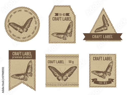 Craft labels vintage design with illustration of rajah brooke s birdwing Canvas Print