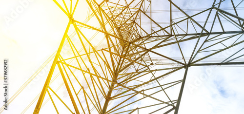 Papel de parede Electric pole view from under the pole and bright sky with sunlight, Natural for