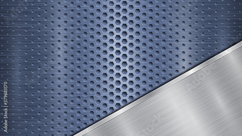 Fotografia, Obraz Background of blue perforated metallic surface with holes and angled silver poli