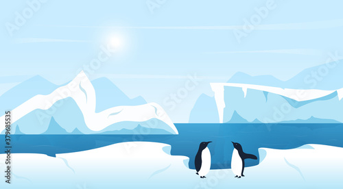 Cuadros en Lienzo Beautiful Arctic or Antarctic landscape with icebergs and penguins