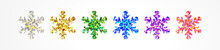 Multicolored Snowflakes With Holographic Glitter From Sparkling Foil Isolated On White. Beautiful Decor For Decorating A Merry Christmas And Happy New Year
