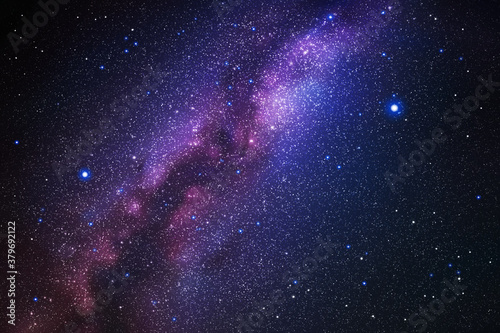 Obraz Space background with night starry sky and Milky Way. Vector illustration with our galaxy in cosmos. Dark blue backdrop with fragment of universe - fototapety do salonu