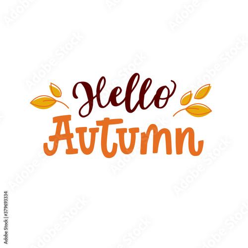 Vector lettering illustration of Hello Autumn Canvas