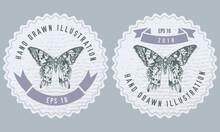 Monochrome Labels Design With Illustration Of Madagascan Sunset Moth