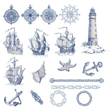 Set Of Decorative Elements For Menu Design In A Marine Style. Old Ship, Lighthouse, Wheel, Compass Meter, Frames For Inscriptions.