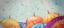 Autumn,umbrellas. Watercolor Background