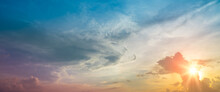 Background Of Colorful Sky.blurry Sky Panorama.Panoramic Shot Of A Beautiful Cloudy Sky And Sunset.