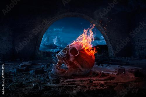 Obraz na plátne Skull burned in fire in dark Halloween night