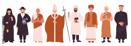Fotografia People of different religions infographic vector illustration set