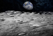 """Earth From The Moon High Quality Deep Space Image """"Elements Of This Image Furnished By NASA"""""""