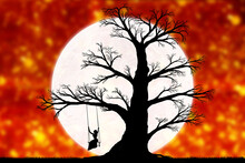 Woman On A Swing On A Tree Against The Backdrop Of A Large Moon